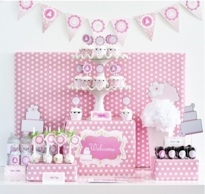 Baby Shower favors Cake Mod Pink party kit